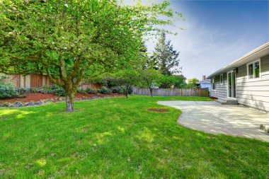 House with walkout deck and garden
