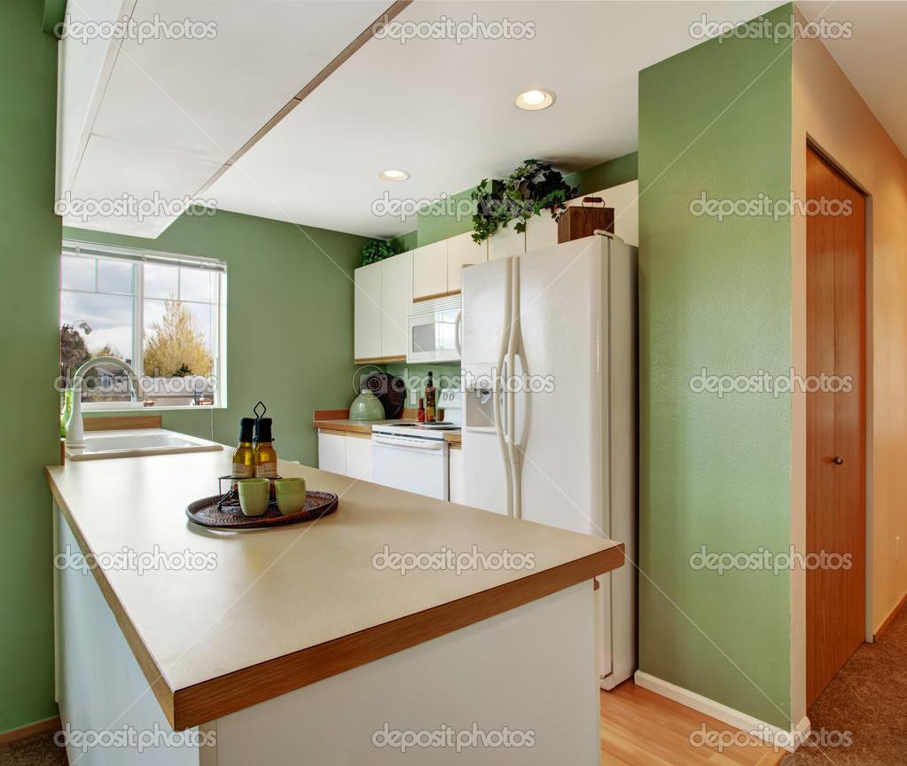 einfache Minze Küche Interieur im leeren Haus — Stockfoto ...