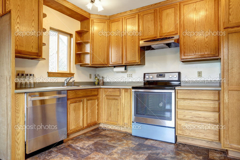 Kuchnia Pokój Wnętrze Brązowe Płytki Podłogowe Zdjęcie