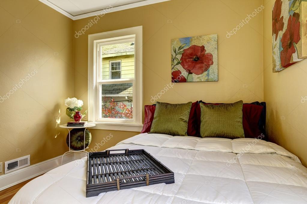 Eenvoudige slaapkamer interieur bed met heldere kleurrijke