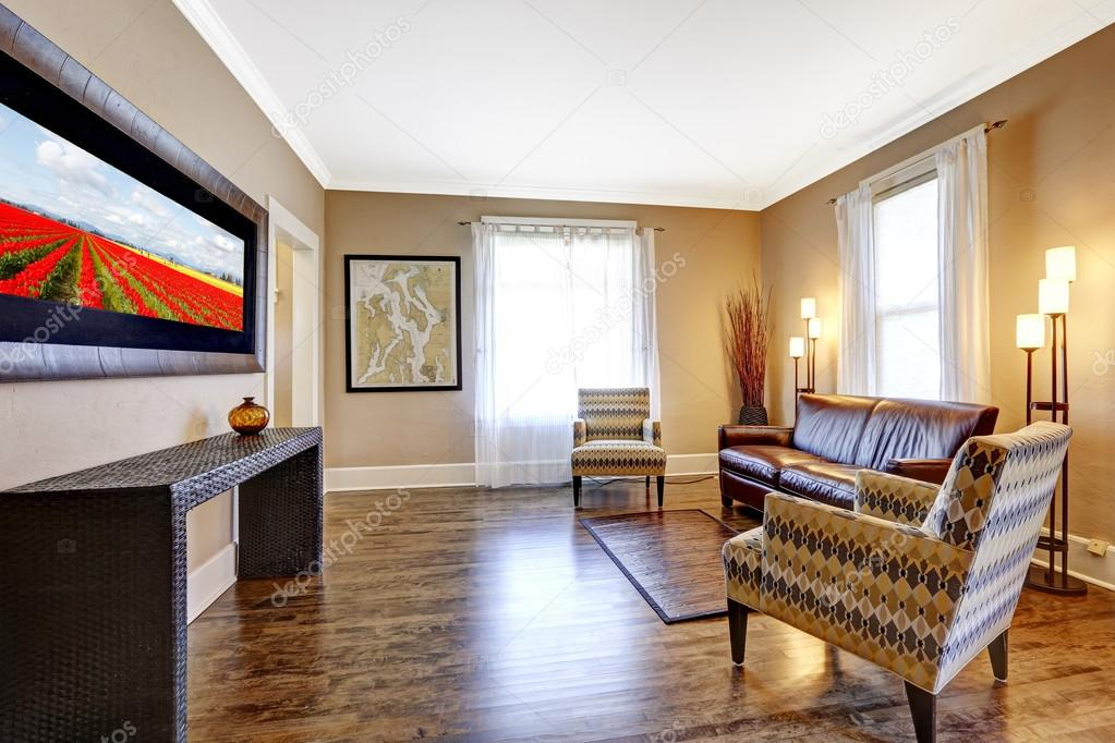 Fantastic Living Room Interior With Leather Couch And Two Chairs Short Links Chair Design For Home Short Linksinfo