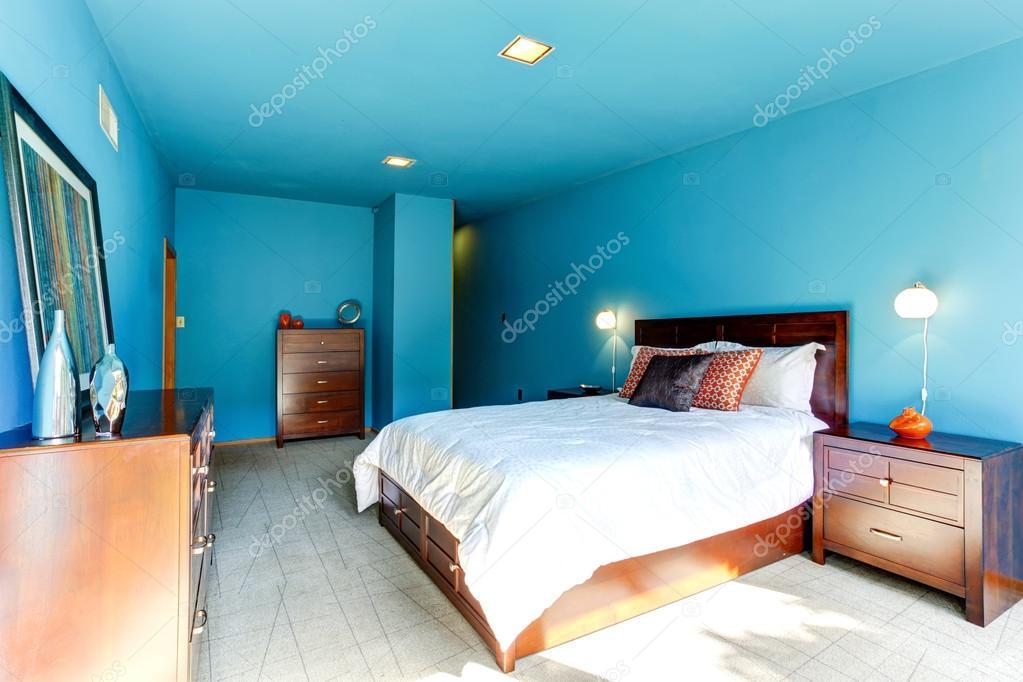 blauwe slaapkamer interieur — Stockfoto © iriana88w #50500617