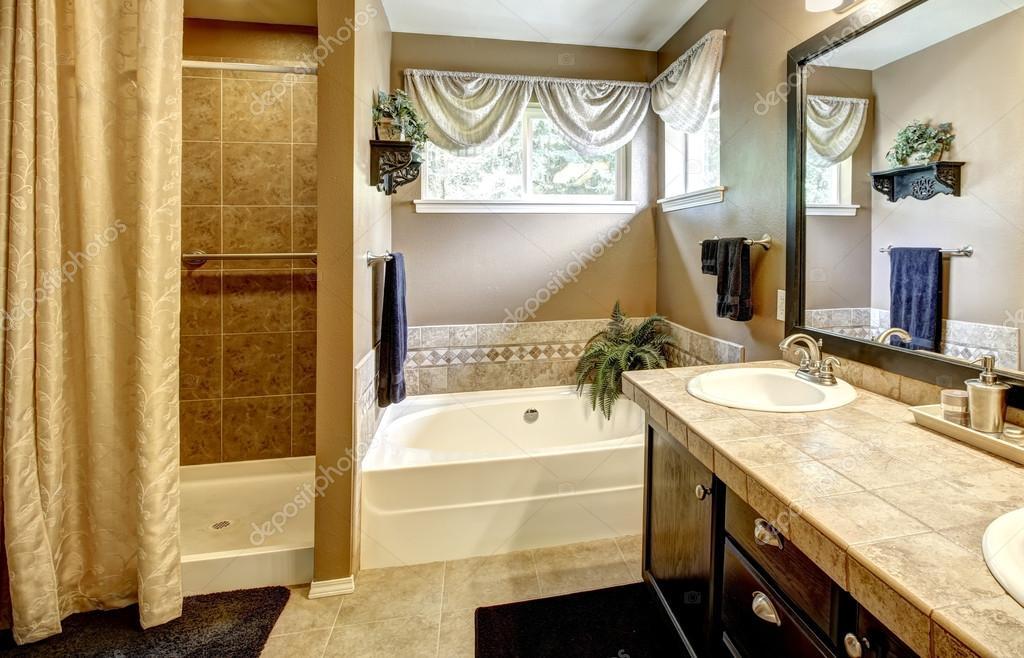 interieur van de badkamer met bad en douche — Stockfoto © iriana88w ...