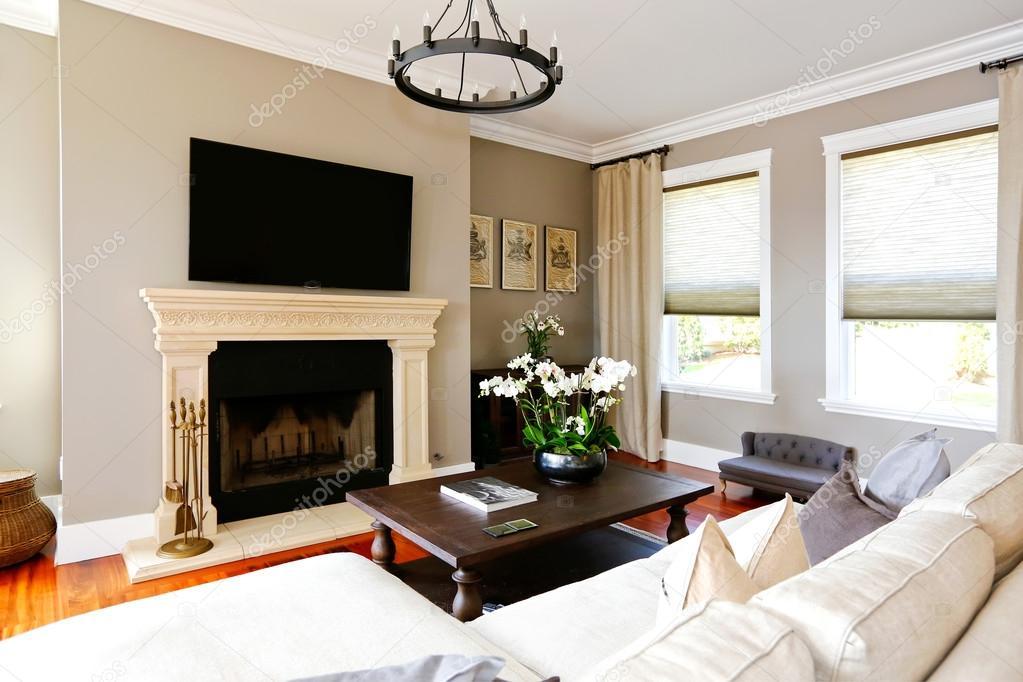 Helle Luxuriöse Wohnzimmer Mit Kamin Und Tv U2014 Stockfoto #50895257