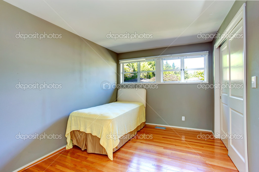 Empty Small Bedroom With Hardwood Floor And Grey Walls View Of Single Old Bed Photo By Iriana88w
