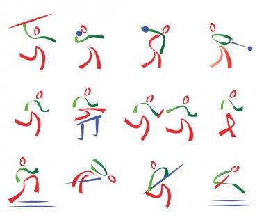 All athletics set of sport icons