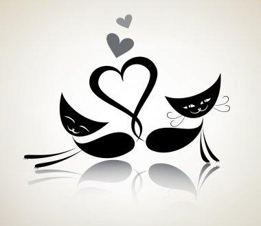 romantic black cats, happy couple