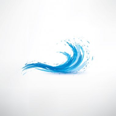 blue water wave, abstract vector symbol