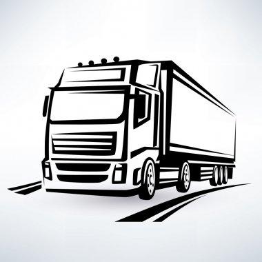 european truck outlined vector symbol