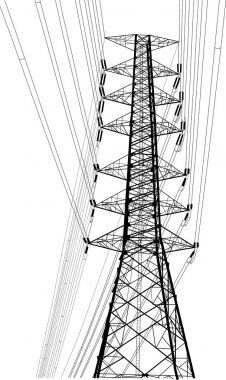 High voltage power pole vector line sketched up, EPS 10.