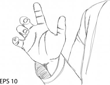 Hand point Vector Line Sketch Up, EPS 10.