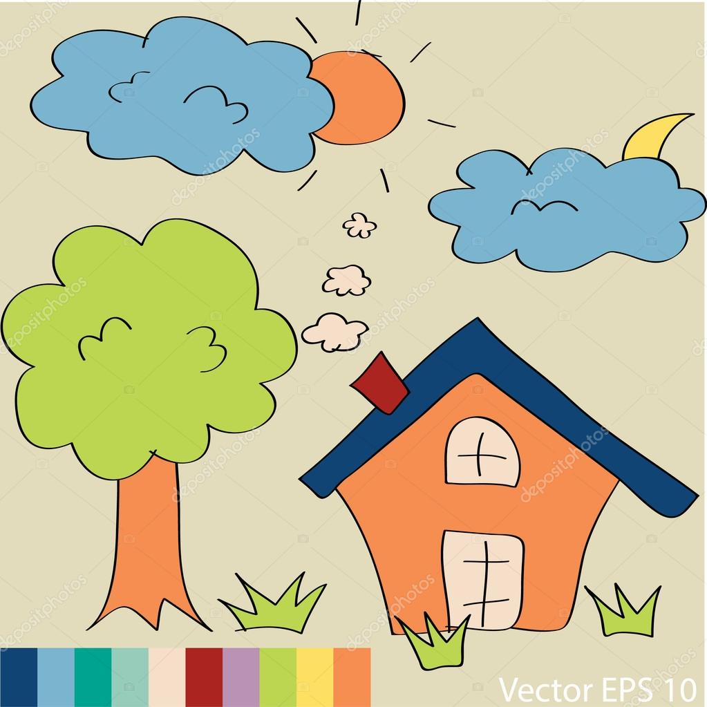 House and Tree Vector Doodle Illustrator, EPS 10.