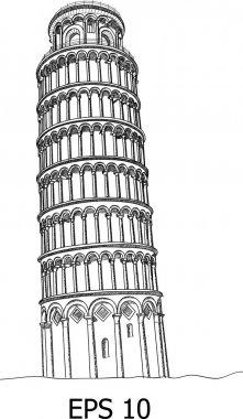 Pisa Tower Line Sketched Up Vector Illustrator, EPS 10.