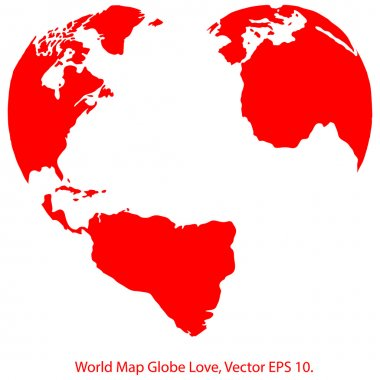 Heart World Map Globe Vector Illustrator, EPS 10.