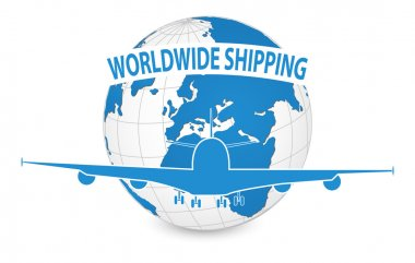 Airplane, Air Craft Shipping Around the World for Worldwide Shipping Concept, Vector Illustration EPS 10.