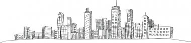 Cityscape Vector Illustration Line Sketched Up, EPS 10. stock vector