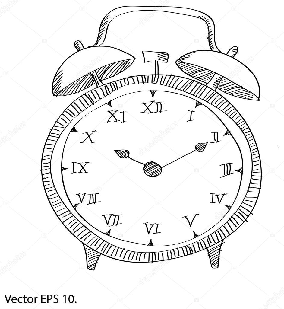 horloge vecteur ligne de dessin esquiss par illustrator eps 10 image vectorielle ohmega1982. Black Bedroom Furniture Sets. Home Design Ideas