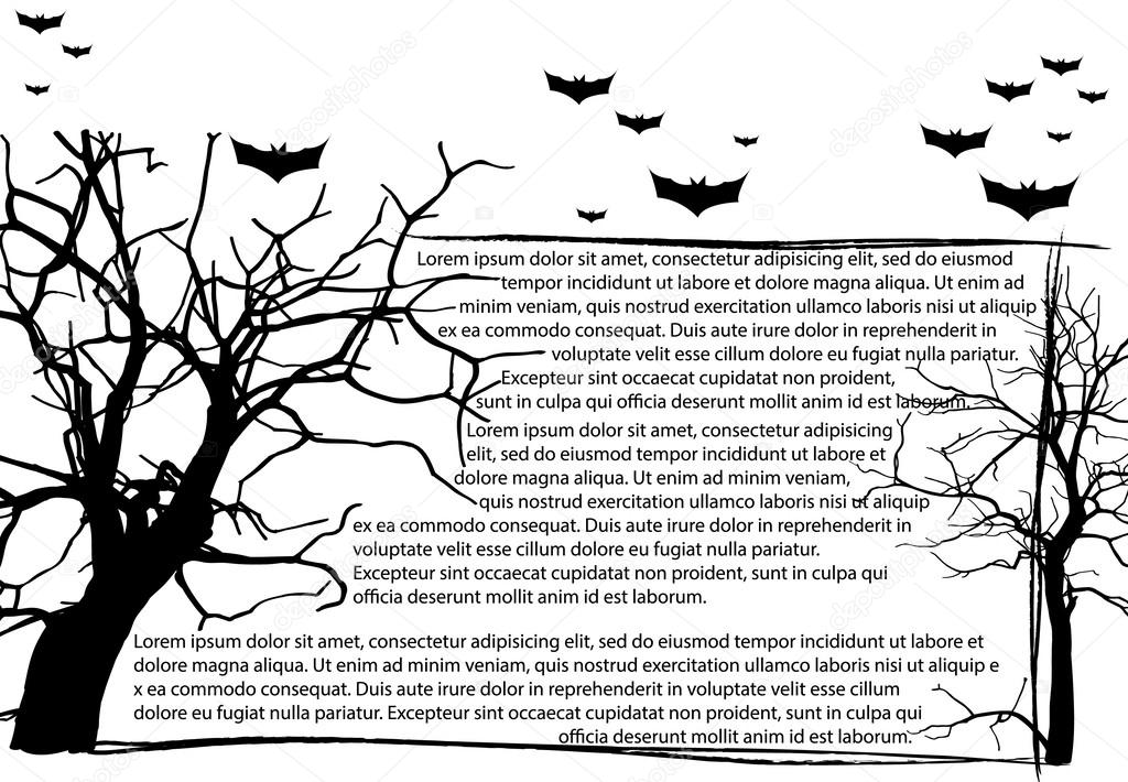 Dead Tree without Leaves and Text Frame, Vector Illustration EPS 10.