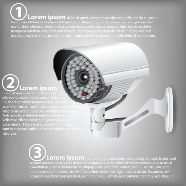 Infographic Diagram of CCTV Security Camera, Vector Illustration