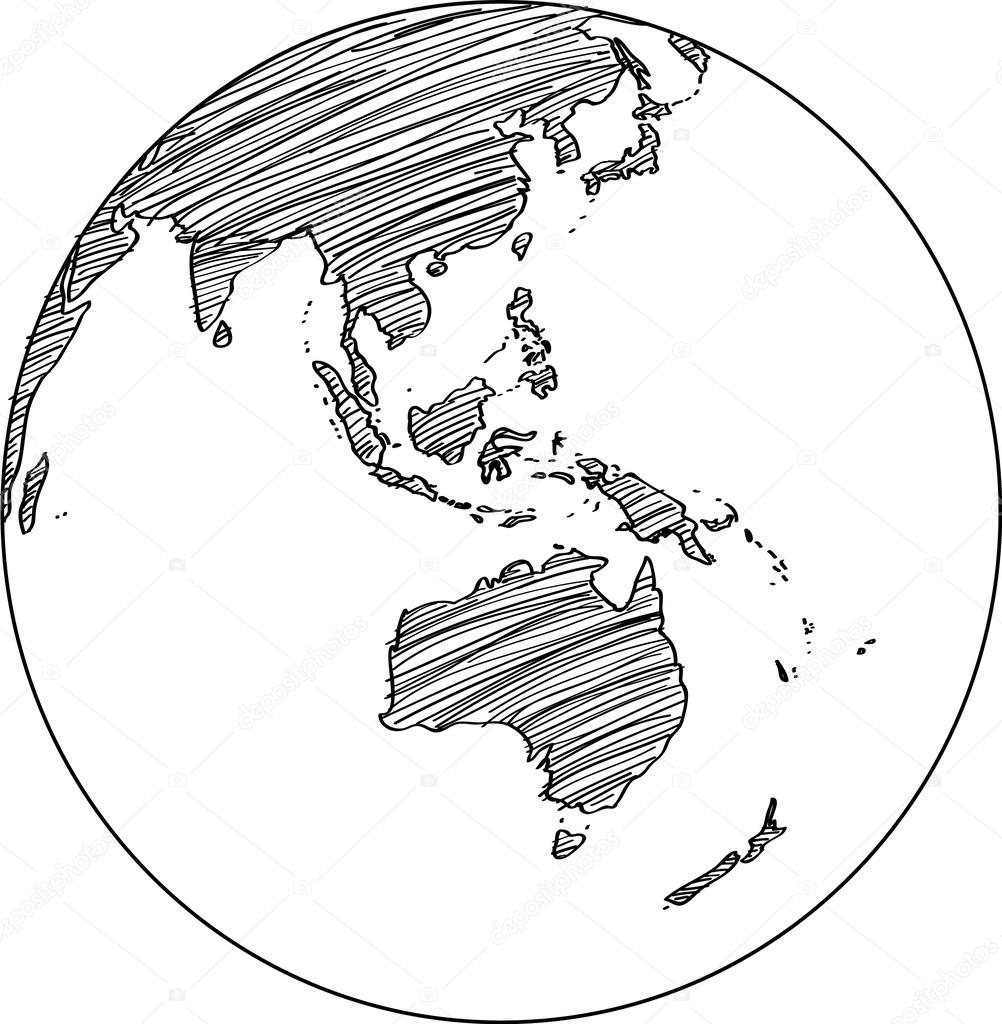 Line Drawing Earth : World map earth globe vector line sketched up illustrator