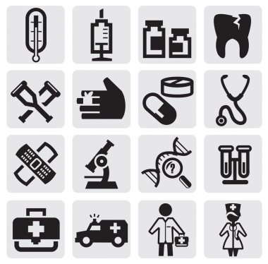 Vector black medical icons set on gray clip art vector