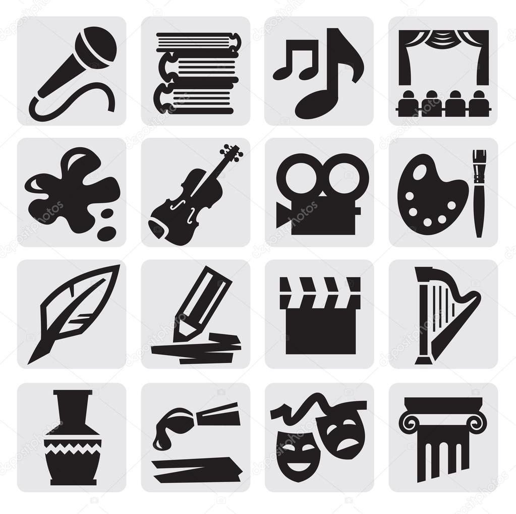 Vector black arts icon set on gray stock vector