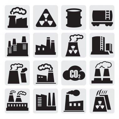Vector black factory icons set on gray clip art vector
