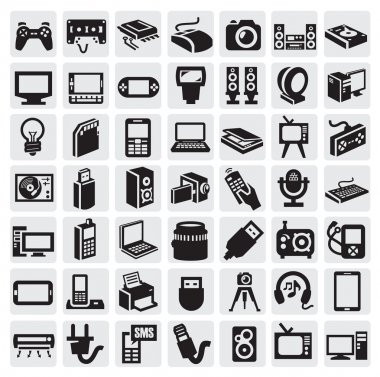 Big icon set of electronic devices on gray stock vector