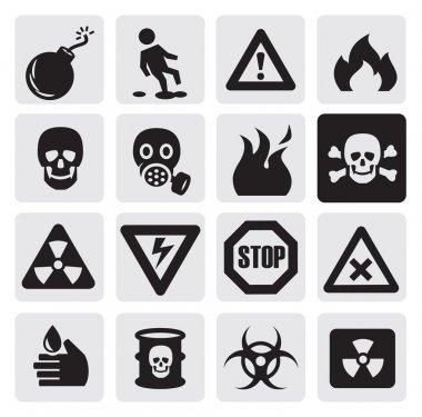 Vector black danger icons set on gray stock vector
