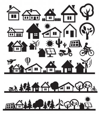 Vector black houses icons set on gray stock vector