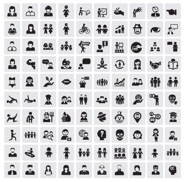 Vector black icons set on gray stock vector