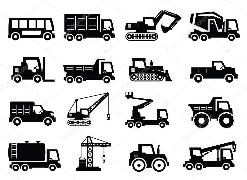 Construction transport icons
