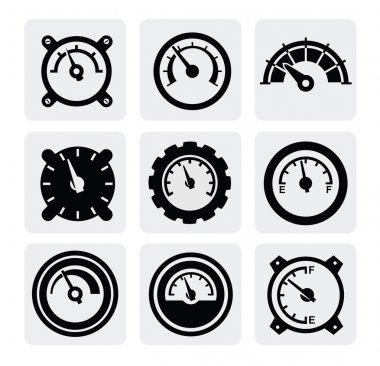 Vector black meter icons set on gray clip art vector