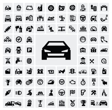 Vector black auto icons set on gray stock vector