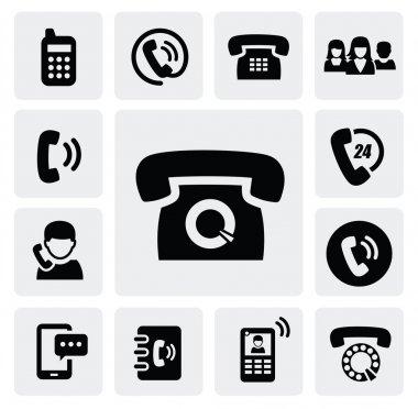Vector black phone icons set on gray clip art vector