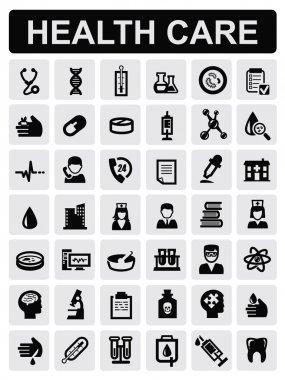 Vector black medical icons set on gray clip art vector