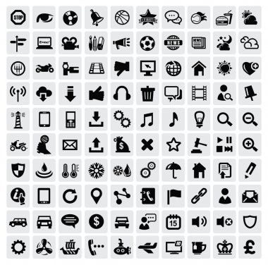Vector black 100 web icons set on gray stock vector