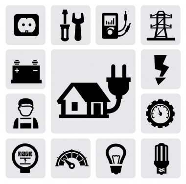 Vector black electricity icons set on gray stock vector