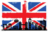 Photo UK flag and silhouettes