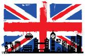 Fotografia sagome e bandiera del Regno Unito