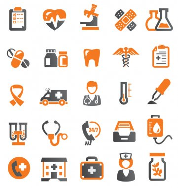 Vector color medical icons set on white stock vector