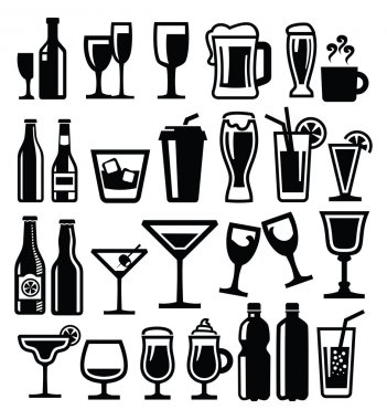 Vector black beverages icon set on white stock vector