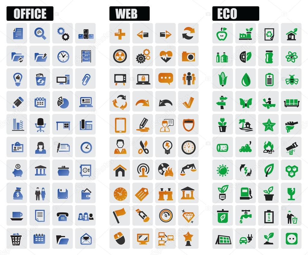 Office, web and eco icons