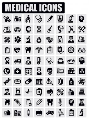 Vector black medical icon set on gray stock vector