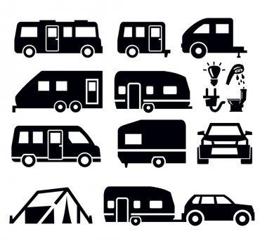 Caravan or camper van icons on white stock vector