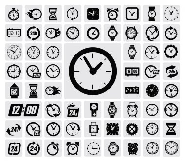 Vector black clocks icon set on gray stock vector