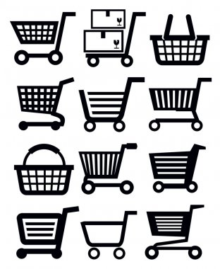 Vector black shopping cart icon set on white stock vector