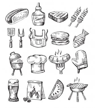 Vector hand draw barbecue icon set on white stock vector