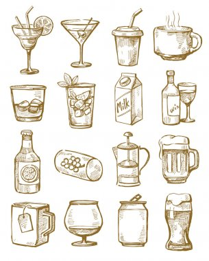 Vector hand drawn beverages icons set on white stock vector