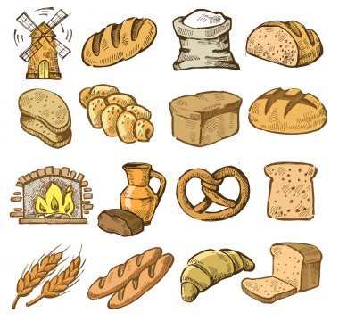 Vector hand drawn bread icons set on white stock vector
